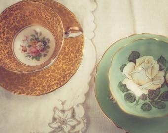 Two Teacups - Fine Art Photograph - shabby chic nostalgic feminine tea party home decor print