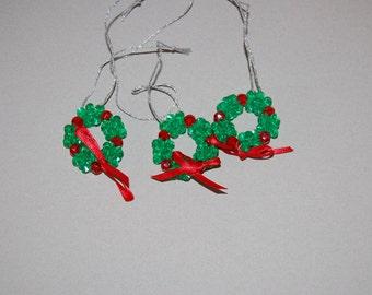 Beaded Christmas ornament ~ set of three