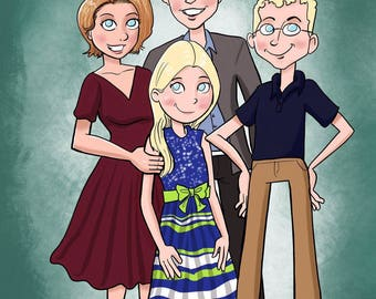 Multiple person Caricature, color (3 or more)  (gift, anniversary, wedding, family, holiday)