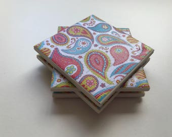 Paisely ceramic tile coasters