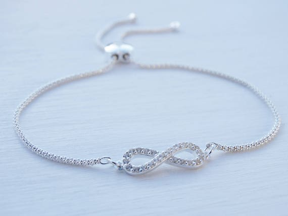 Infinity Bracelet With Heart Slider Clasp, Cubic Zirconia, Sterling Silver