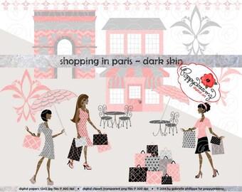 Shopping In Paris Dark Skin Fashionistas: Clip Art Pack Card Making Digital Bridal Fashion French Bridal Shower Pink & Black