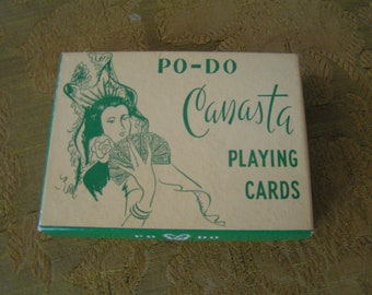 Vintage Po-Do Canasta Playing Cards---Sealed with Original Stamps---From 1950