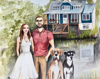 """8""""x10"""" Custom Portrait Illustration - With Home or Favorite Place - Watercolor Painting"""