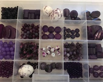 Purple Bead lot mixed bead collection stone glass faceted jewelry party supplies
