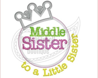 Middle sister to little sister applique