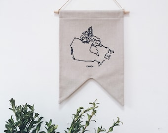 Map of Canada - Made in Canada - 2 Point Cotton Banner