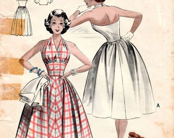 1950s Butterick 6141 Vintage Sewing Pattern Teen Party Dress, Halter Neck Dress, Cropped Jacket Size 14 Bust 32
