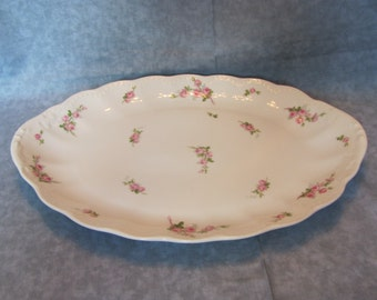 Limoges Serving Platter with Roses / 14 inch Limoges Platter