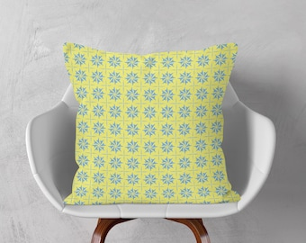 Blue Yellow Cushion, Decorative Pillow, Geometric Cushion, Checkered Throw Pillow, Patterned Cushion Cover, 16x16 18x18 20x20, Accent Pillow