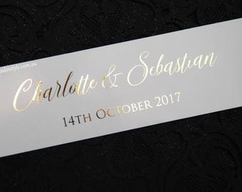 Wedding Invitation Belly Band with real shiny foil - custom sizes - choose your quantity/colour