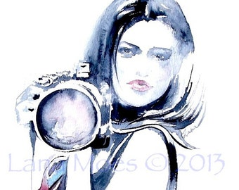 Girl with Camera Watercolor Fashion Illustration by Lana Moes - Print  8 x 10 - Modern Home Decor