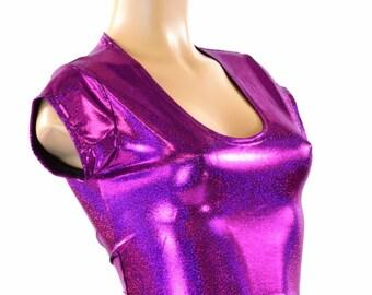 Fuchsia Purple Sparkly Jewel Cap Sleeve Crop Top Spandex Clubwear Rave Festival Mermaid Top 151416