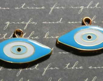 Large blue Devil Eye charm and metal 18x31mm