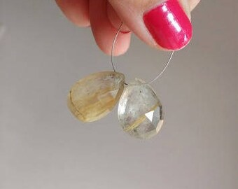 Rutilated Quartz Gemstone Briolette Faceted Pear 18 and 18.5mm 2 beads