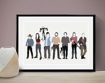 The Walking Dead Cast Poster, People, Art Print, Home Decor