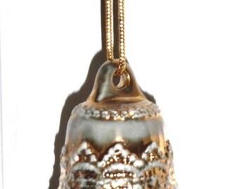Porcelain Gold Washed Bell Ornament