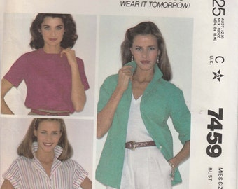 Easy Shirt Pattern Button Front Notched Collar Size 20 Uncut 1981 McCalls 7459
