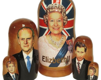 Matryoshka political leaders British Queen Elizabeth 2