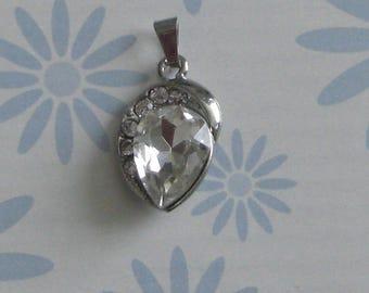 Clear rhinestone silver pendant charm