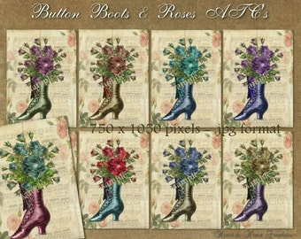Button Boots & Roses ATC's - Digital Scrapbook and Paper Crafts Clipart Images