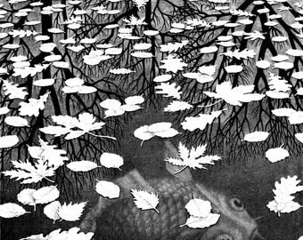 "M.C. Escher Three worlds art poster reproduction canvas print illusion optical Illusion art  giclee 16,5""х11.7"", 8.3""х11.7"""