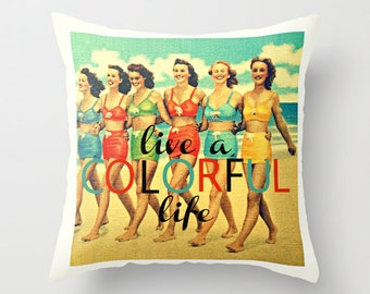 Inspirational Pillow Cover 18x18, Inspirational Her, Dorm Decor Pillow, Live a Colorful Life Quote, Inspirational Gift, Dorm Pillow