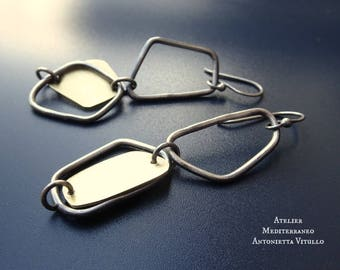 Drop Earrings in Brass And Sterling Silver Wire With Irregularly Shaped Elements 03