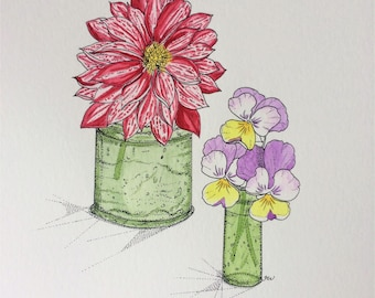 A4 Original pen and watercolour painting. Violas & Variegated Dahlia.