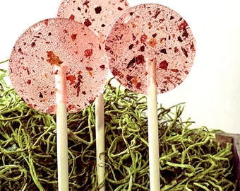 Flower Lollipops //  Rose & Honey // Edible Flowers Lollipops // Honey Lollipops  // Spring Wedding Favor // Summer Wedding  // 6 count