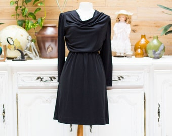Vintage Black Mini Dress with Long Sleeves
