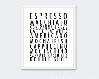 Coffee print, coffee wall art, coffee decor, kitchen print, kitchen decor, kitchen wall art, coffee typography print
