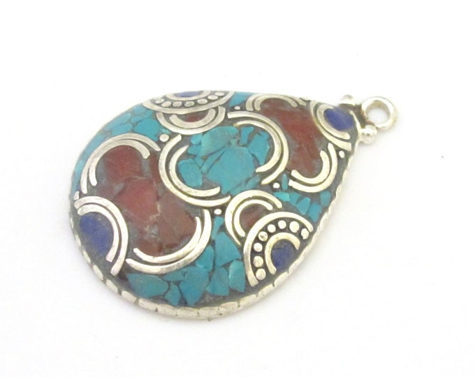 1 Pendant - Ethnic Tibetan silver teardrop shape pendant with turquoise coral lapis inlay - PM303