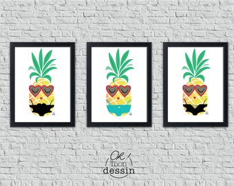 "Set of 3 posters pineapple Format A4/A3 ""Pineapple swimsuit"", exotic fruit, poster, tropical, humour, shirt, summer"