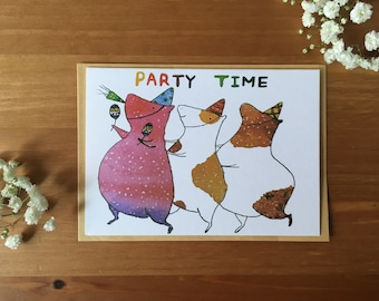 Guinea pig - party time gift card/ greeting card/ watercolor