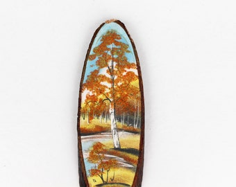 Autumn birch tree wall hanging Soviet vintage handmade wall picture Natural wall decor Farmhouse wall hanging Country style home decor