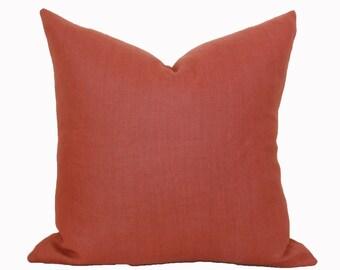 Rust linen pillow cover 18x18 20x20 22x22 24x24 26x26 Euro sham Lumbar Fall pillow Brick Orange Terra Cotta 12x20 12x24 14x26 16x24 16x26