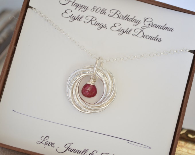 Ruby birthstone necklace, 80th Birthday gift for grandma, 8th Anniversary gift, 80th Birthday for mom, Jewelry for mom, July birthstone neck