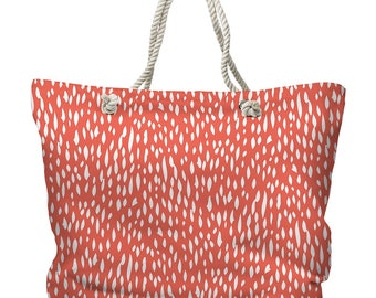 Hipster Coral Tote Bag, Coral Carryall, Modern Coral Tote