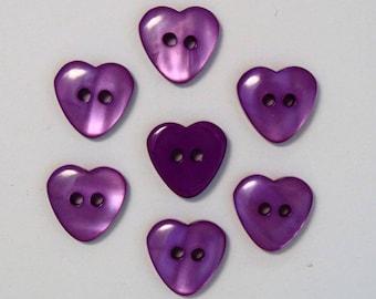 Heart 15mm set of 10 buttons: purple - 002219