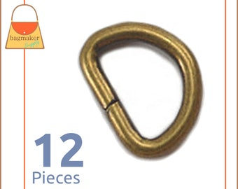 """Small 1/2 Inch D Rings, Antique Brass Finish / Bronze Finish, 12 Pieces, Handbag Purse Bag Making Supplies Hardware, .5"""", RNG-AA133"""