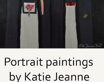 Art on Sale. Acrylic Figure Painting. Large Canvas Art. Women Portrait Painting. Flower Girl Gift for Women
