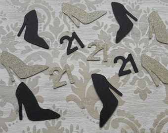 21st Birthday Party Twenty One Birthday High Heel Shoes Gold Confetti Table Confetti Table Decorations Party Decorations Table Scatter