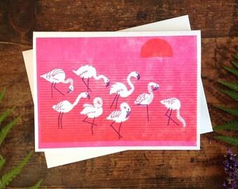 Flamingos in Lake Letterpress Greeting Card