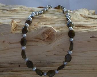Labradorite & Swarovksi Pearl Necklace