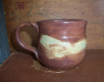 Handmade Heavy Rustic Stoneware Coffee Mug Tea Cabin Brown Woods