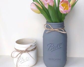 Mason jar, Bathroom Vanity Set, vase, makeup brush holder, bedroom organiser, desk storage, pen pot, table decor, desk storage, baby shower