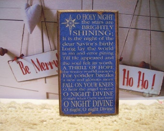Oh Holy Night Miniature Wooden Plaque