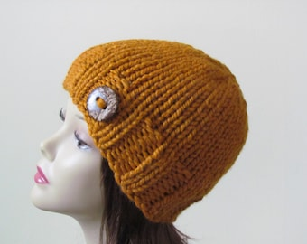 Chunky Knit Hat Winter Hat Chunky Knit Beanie Womens Hat Teens Hat - Butterscotch with  Button Accent  - Ready to Ship - Gift for Her