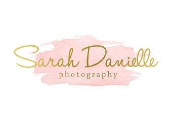 Pre-made Logo Design & Photography Watermark - Watercolor logo - Blog Header - Website Logo - Gold Logo - Blog Banner - Photography Logo 648
